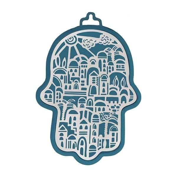 , Large Hamsa wall decoration – Jerusalem in blue background, Jewish.Shop