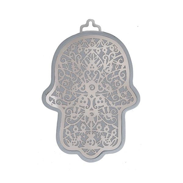 , Hamsa (wall decoration) – pomegranates in silver background, Jewish.Shop