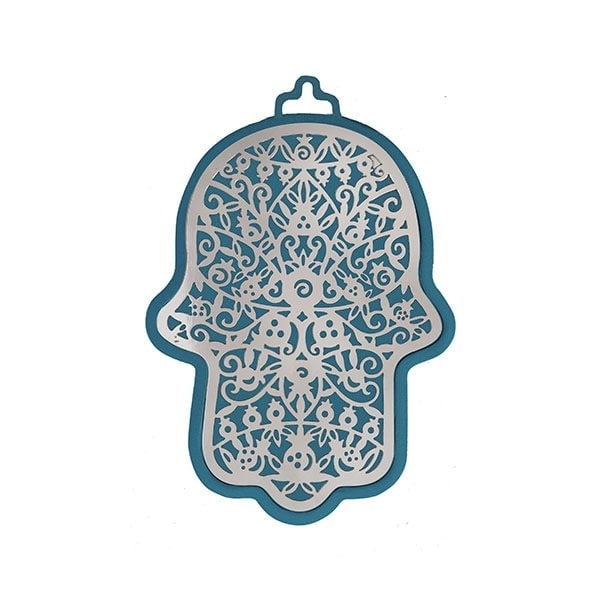 , Hamsa (wall decoration) – pomegranates in blue background, Jewish.Shop