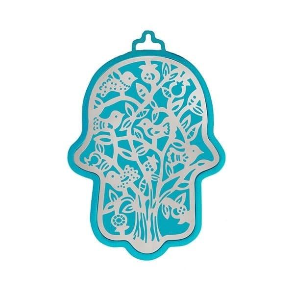 , Hamsa (wall decoration) – birds in turquoise background, Jewish.Shop