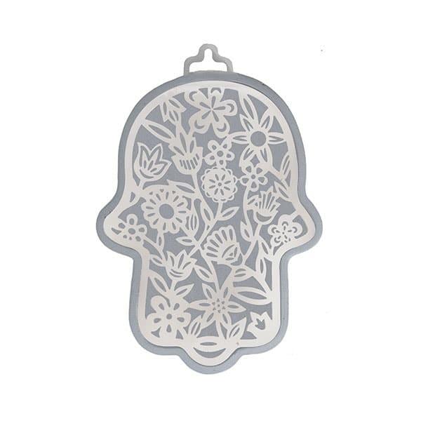 , Hamsa (wall decoration) – flowers in silver background, Jewish.Shop