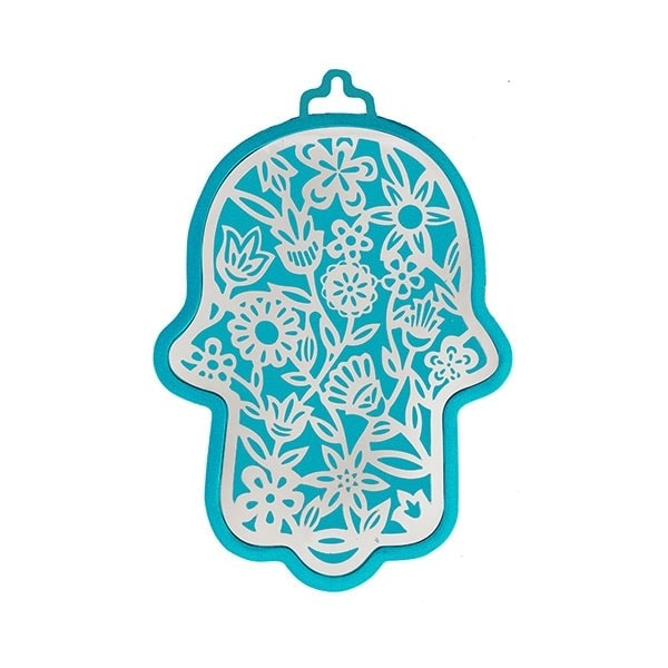 , Hamsa (wall decoration) – flowers in turquoise background, Jewish.Shop