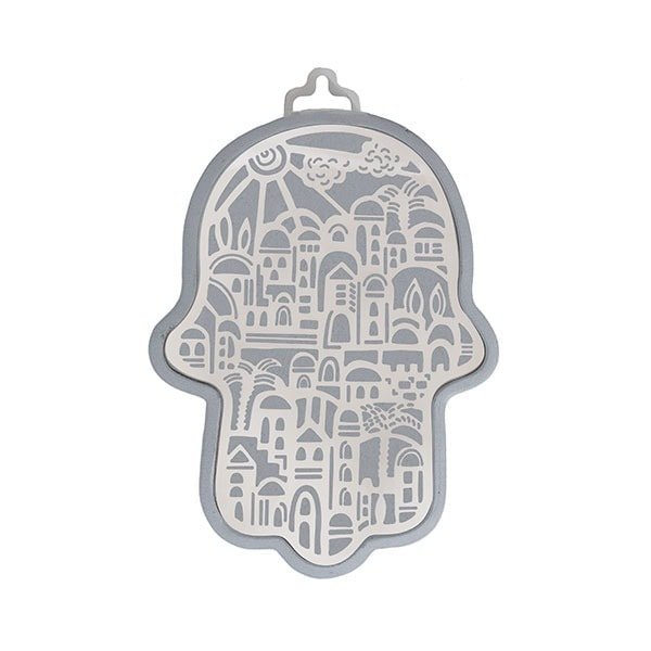 , Hamsa (wall decoration) – Jerusalem in silver background, Jewish.Shop