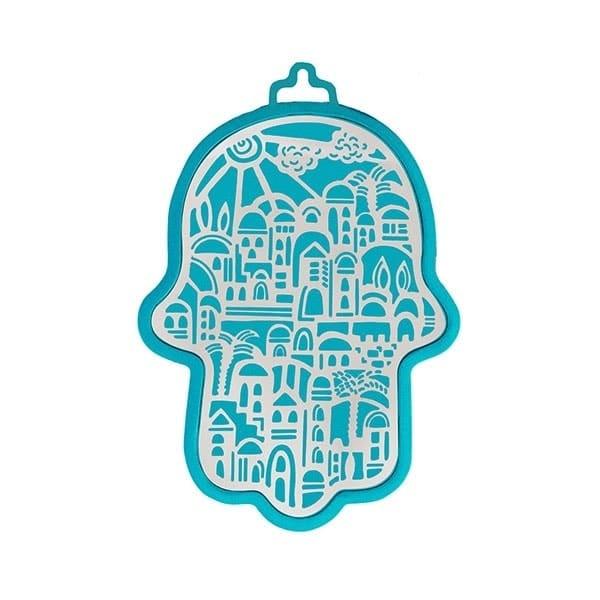 , Hamsa (wall decoration) – Jerusalem in turquoise background, Jewish.Shop