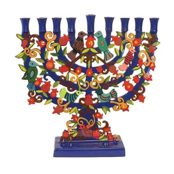 , Standing Chanukah menorah – laser cutting – birds and Pomegranate s, Jewish.Shop