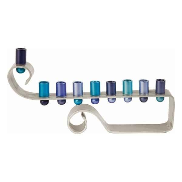 , Chanukah menorah – the eighth note – blue, Jewish.Shop