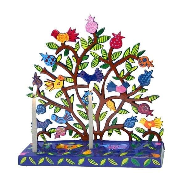 , Flat Chanukah menorah – laser cutting – birds and Pomegranate s, Jewish.Shop