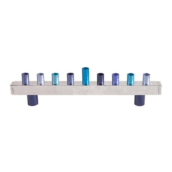 , Chanukah menorah – metal cutting – blue, Jewish.Shop