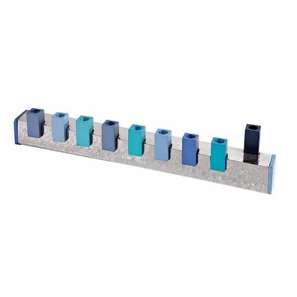 , Simple Hammer Menorah – Blue, Jewish.Shop