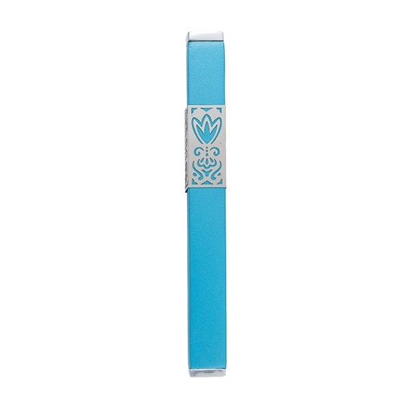 ", Mezuzah Case ""Flower of the Heart"" – turquoise, Jewish.Shop"