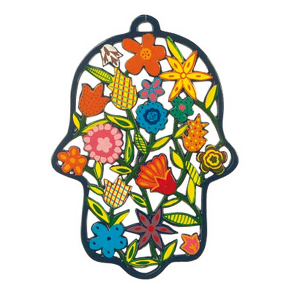, Large colorful 'Hamsa' wall decoration – flowers, Jewish.Shop