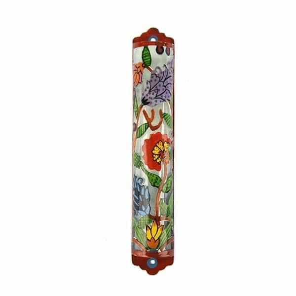 , Mezuzah – Hand Painting on Laser Cut – Flowers (12 cm), Jewish.Shop