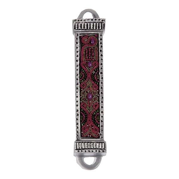 ", Mezuzah ""metal and embroidery"" – purple (12 cm), Jewish.Shop"