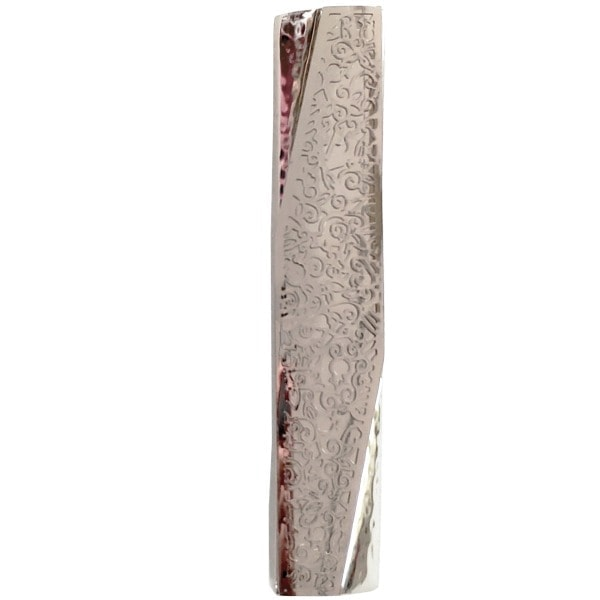 ", Wide Mezuzah Case ""decorated angle"" – stainless steel, Jewish.Shop"