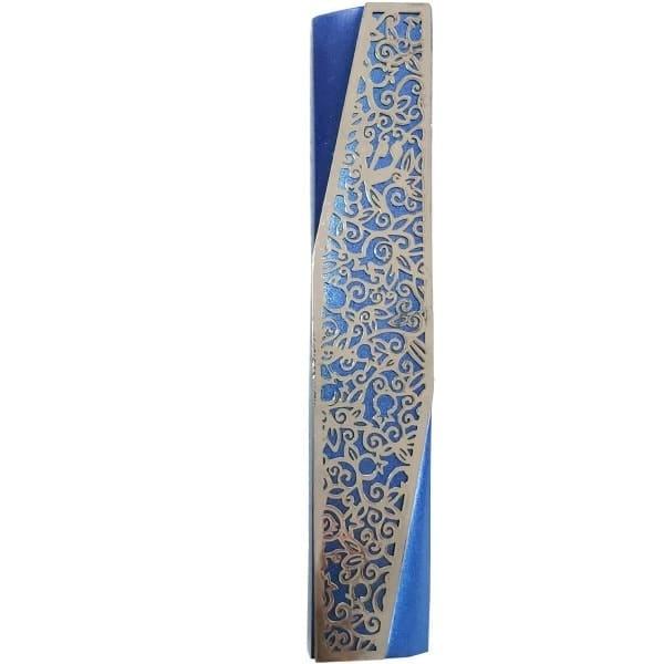 ", Wide Mezuzah Case ""decorated angle"" – blue, Jewish.Shop"