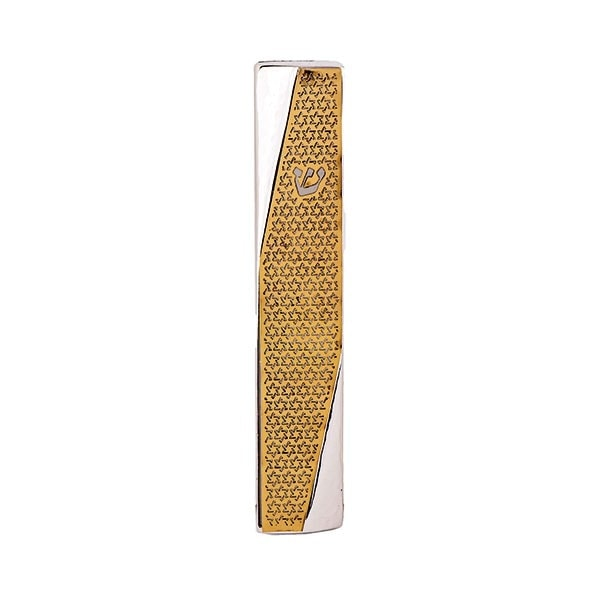 ", Wide Mezuzah Case ""decorated angle"" – Copper Star of David, Jewish.Shop"