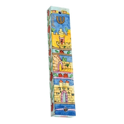 , Large wooden Mezuzah Case – jerusalem squared, Jewish.Shop