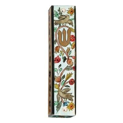 , Large wooden Mezuzah Case –  bird of  heaven, Jewish.Shop