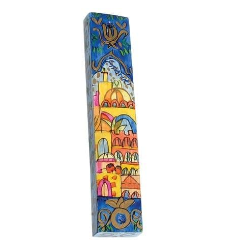, Small Wooden Mezuzah Case – Oriental Jerusalem (10 cm), Jewish.Shop