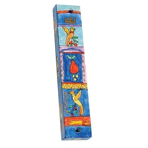 , Small Wooden Mezuzah Case – Birds in a square (10 cm), Jewish.Shop