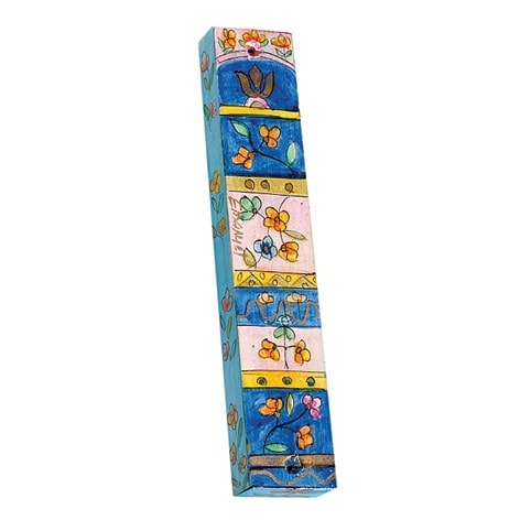 , Small Wooden Mezuzah Case – Flowers in a square (10 cm), Jewish.Shop