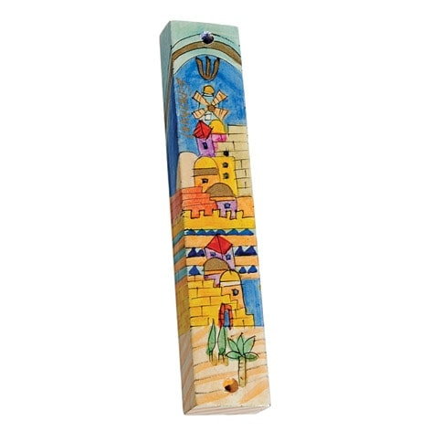 , Small Wooden Mezuzah Case – The gates of Jerusalem (10 cm), Jewish.Shop