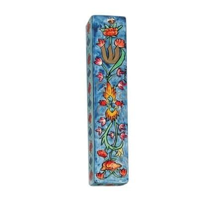 , Small Wooden Mezuzah Case – Flowers in blue (10 cm), Jewish.Shop