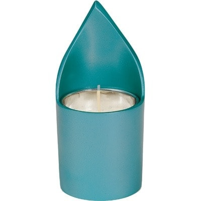", A soul-candle holder ""flame"" – turquoise, Jewish.Shop"