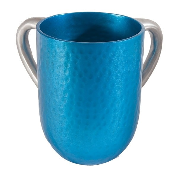 ", Netilat Yadayim Cup ""hammer work"" – turquoise, Jewish.Shop"
