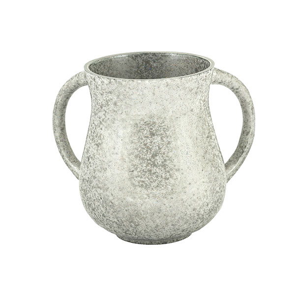 , Large Netilat Yadayim Cup – antique marble – silver, Jewish.Shop