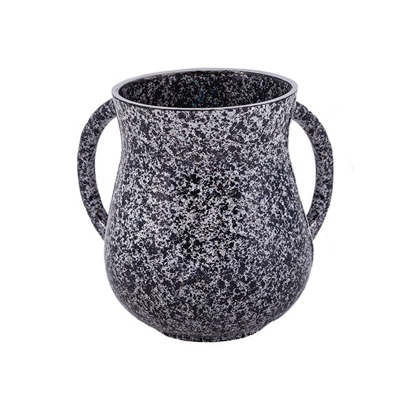 , Large Netilat Yadayim Cup – antique marble – black, Jewish.Shop