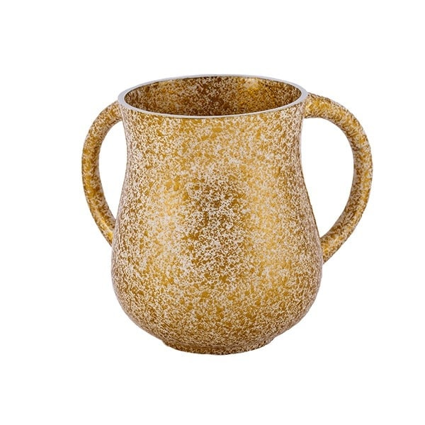 , Large Netilat Yadayim Cup – antique marble – gold, Jewish.Shop