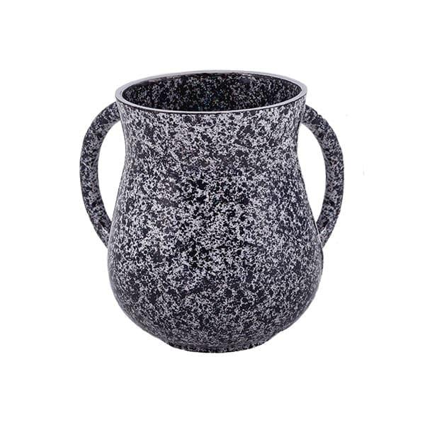 , Small Netilat Yadayim Cup – antique marble – black, Jewish.Shop