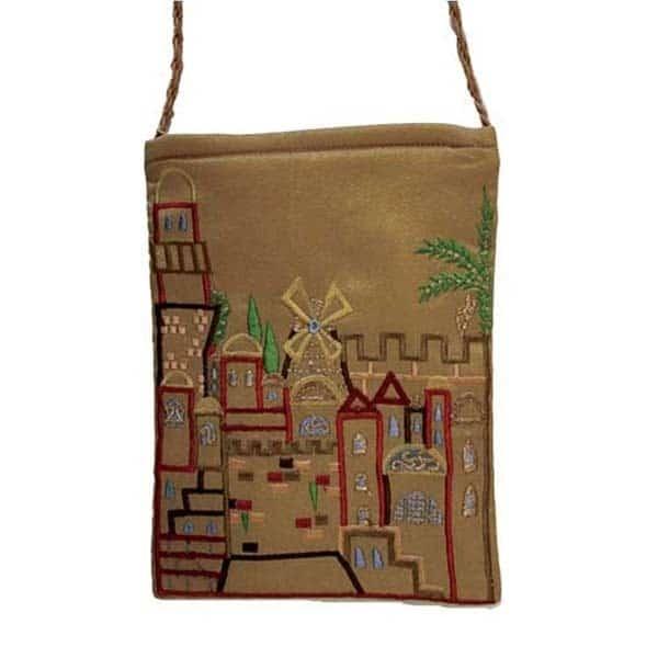 , Embroidered side bag – Jerusalem, Jewish.Shop