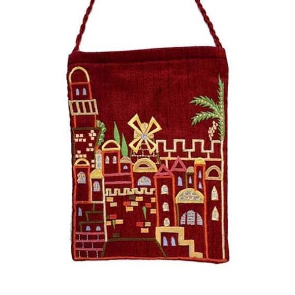 , Embroidered side bag – Jerusalem – red, Jewish.Shop