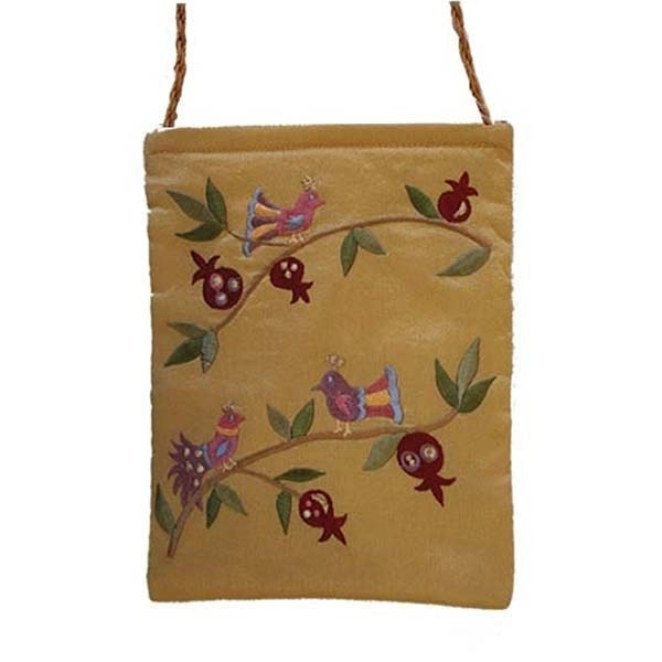 , Embroidered side bag – Pomegranates and birds, Jewish.Shop