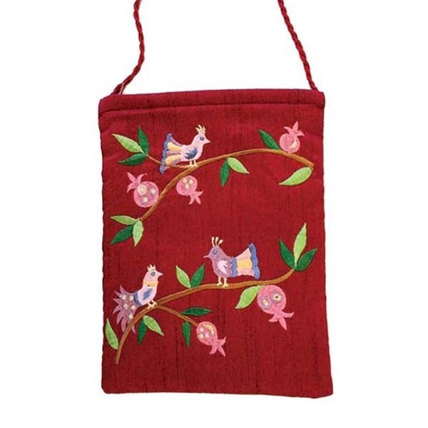 , Embroidered side bag – Pomegranates and birds – Bordeaux, Jewish.Shop