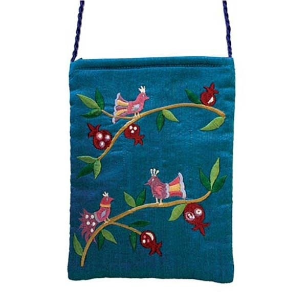 , Embroidered side bag – Pomegranates and birds – turquoise, Jewish.Shop