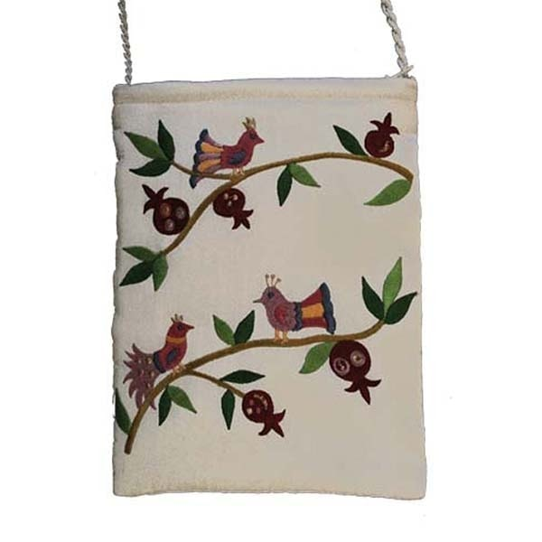 , Embroidered side bag – Pomegranates and birds – white, Jewish.Shop