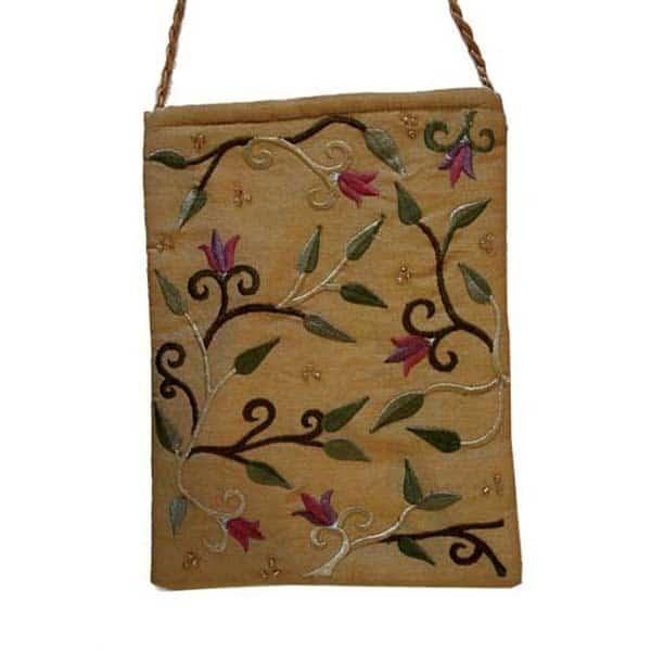 , Embroidered side bag – flowers – gold, Jewish.Shop