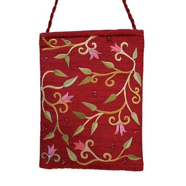 , Embroidered side bag – flowers – Bordeaux, Jewish.Shop