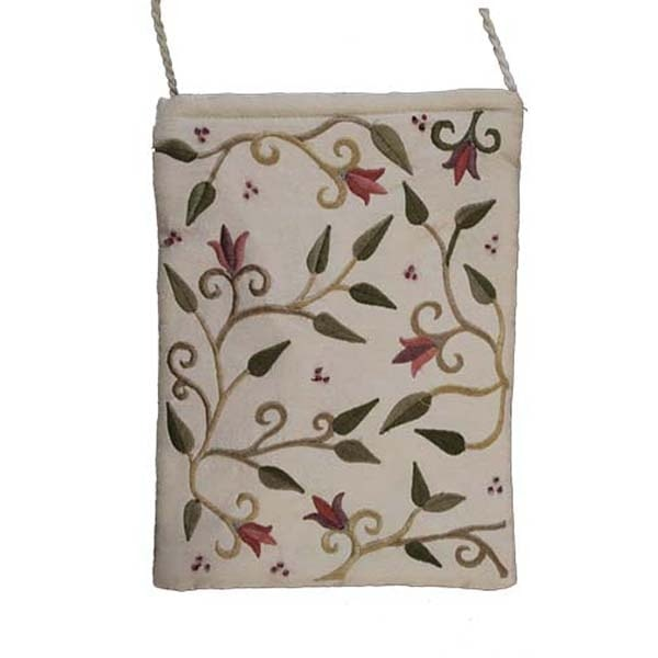 , Embroidered side bag – flowers – white, Jewish.Shop