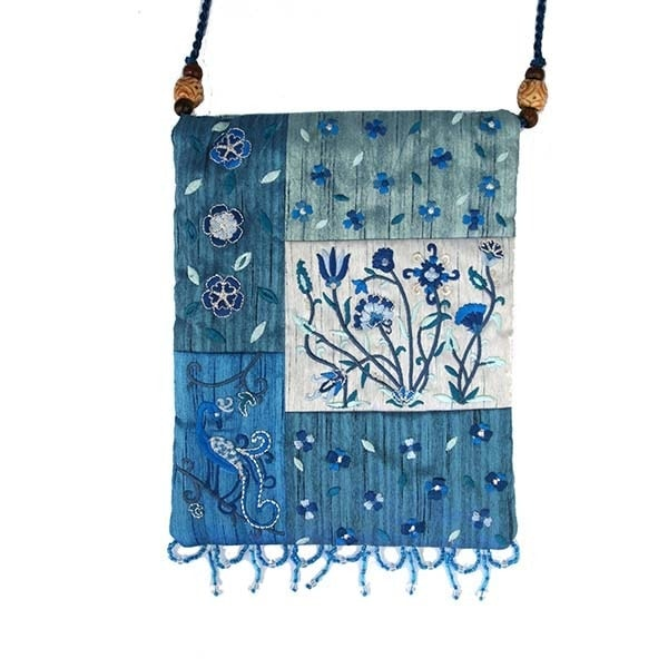 , Side bag – flowers in the app – blue, Jewish.Shop