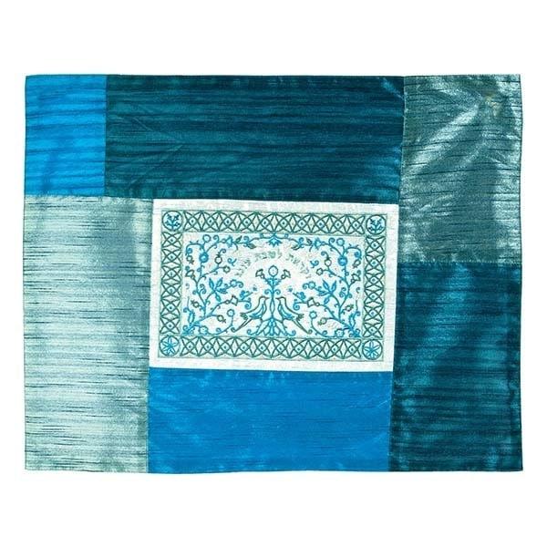, Challah Cover and Shabbat Plate – `Oneg Shabbat` – blue, Jewish.Shop