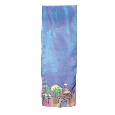, Narrow silk scarf – Jerusalem in Blue, Jewish.Shop