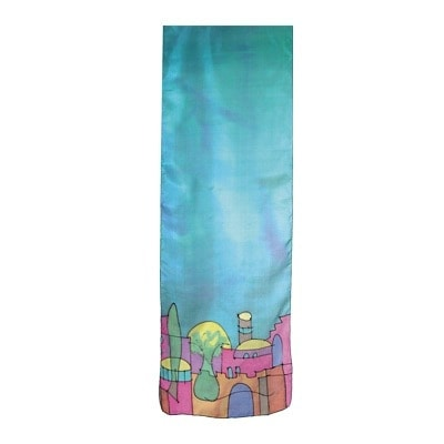 , Wide silk scarf – Jerusalem in turquoise, Jewish.Shop