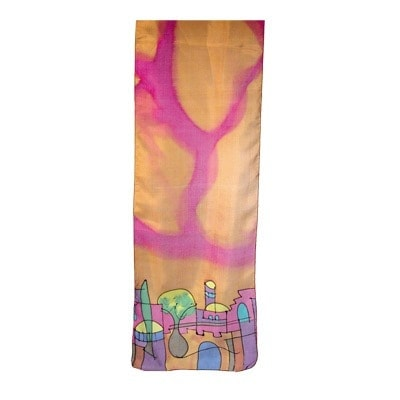 , Narrow silk scarf – Jerusalem in Light Brown, Jewish.Shop