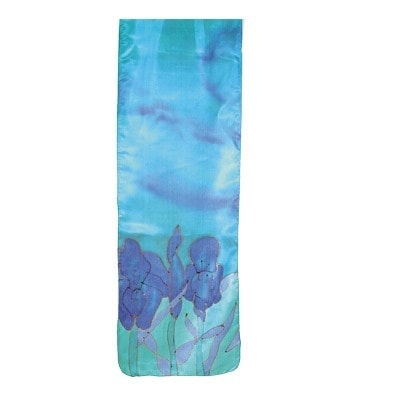 , Wide silk scarf – flowers in turquoise, Jewish.Shop