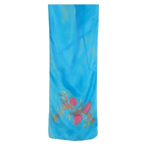 , Narrow silk scarf – Pomegranate s in turquoise, Jewish.Shop