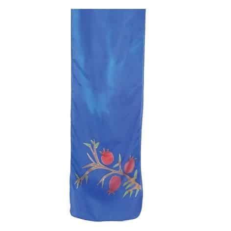 , Narrow silk scarf – Pomegranate s in blue, Jewish.Shop